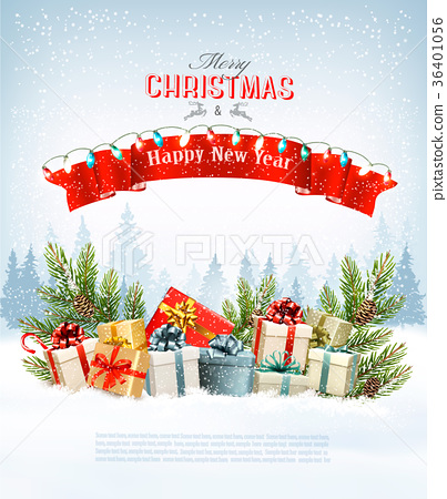 Merry Christmas Holiday Background with branche 36401056