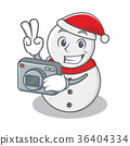 Photographer snowman character cartoon style 36404334