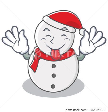 Tongue out snowman character cartoon style 36404392