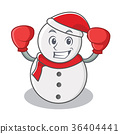 Boxing snowman character cartoon style 36404441