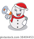 With megaphone snowman character cartoon style 36404453