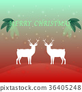 Created merry christmas background with reindeer 36405248