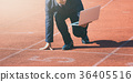A businessman on a track ready for race in business 36405516