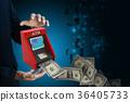 man hand showing  teller machine 36405733