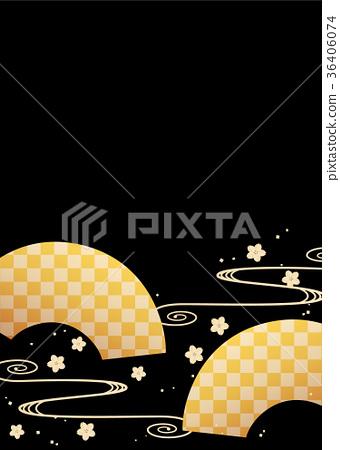 背景材料(垂直) - 日本圖案(扇形和櫻花和流水圖案) 36406074