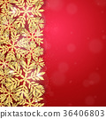 Christmas gold glittering snowflakes background 36406803