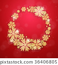 Christmas gold glittering snowflakes background 36406805