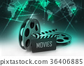 Film Reels and Clapper board 36406885