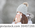 Girl with allergy symptom blowing nose. 36407266