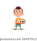 Cartoon little boy holds the ball in his hand. A 36407912