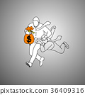 businessman holding orange bag of money  36409316