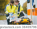 Emergency doctor giving oxygen to accident victim 36409796