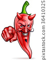 Cartoon Devil Red Chilli Pepper Pointing 36410325