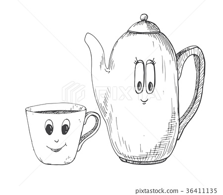 Hand drawn kettle and a mug in the cartoon style. 36411135