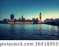 Big Ben and Westminster at sunset, London, UK 36418950