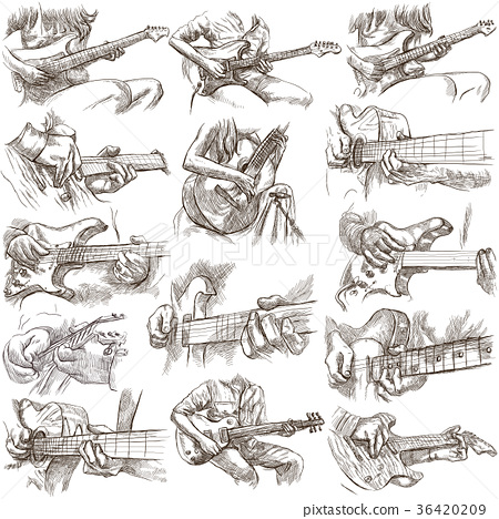 hand drawn collection,full sized pack- GUITAR SOLO 36420209