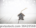 birdhouse on rustic wooden background 36420568