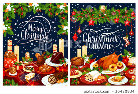 Christmas dinner poster of festive dishes on table 36420934