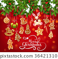 Christmas garland with cookie greeting card design 36421310