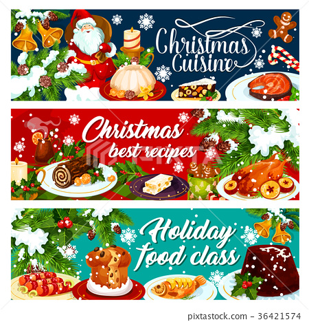 Christmas dinner banner with winter holiday food 36421574