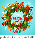 Christmas wreath greeting poster of winter holiday 36421581