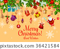 Christmas card with Xmas gift and New Year garland 36421584