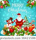 Christmas greeting card of snowman, Santa and gift 36421586