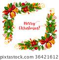 Christmas frame with Xmas garland greeting card 36421612