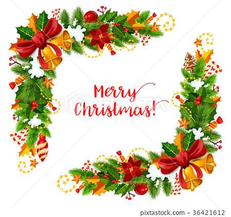 Christmas frame with Xmas garland greeting card 36421612