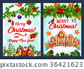 Christmas cookie and New Year garland card design 36421623
