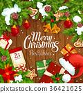 Christmas gift festive poster on wooden background 36421625