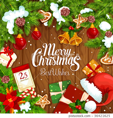 Christmas gift festive poster on wooden background 36421625
