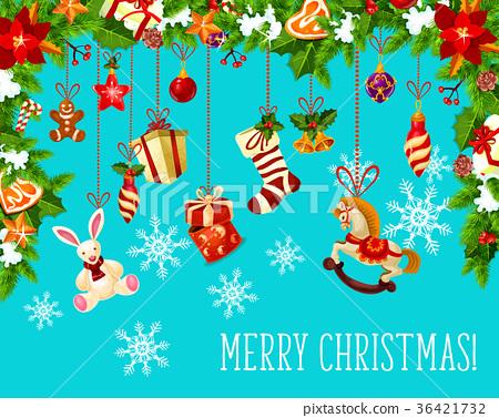Christmas garland with Santa gift greeting card 36421732
