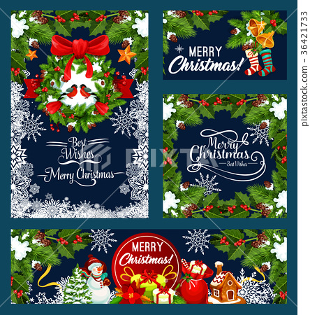 Christmas wreath with bell greeting card design 36421733