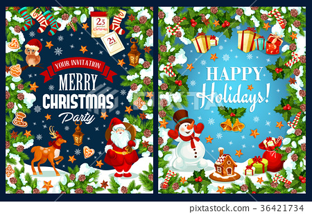 Merry Christmas holidays vector greeting card 36421734