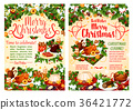 Christmas dinner festive banner of winter holidays 36421772