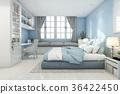 3d rendering beautiful blue vintage kid bedroom 36422450