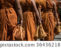 rear view of thai buddhism monk clothes uniform 36436218