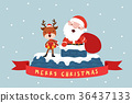 Santa and Reindeer with house top 36437133