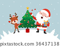 Santa and Reindeer with tree. 36437138