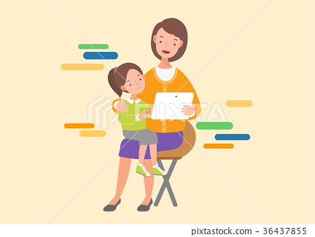mother and daughter with tablet pc 36437855