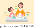 Mother and daughter washing the dishes. 36437859