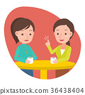 Two woman talking and drinking coffee in a cafe. 36438404