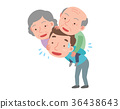 A Man is carrying the parents on back.  36438643