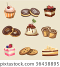 Set of delicious sweets and desserts 36438895