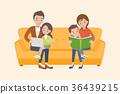 Happy family on the sofa 36439215