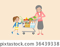 Old women holding shopping cart with Granddaughter 36439338