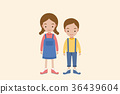 Cute boy and girl isolated on Beige background. 36439604
