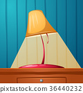Table lamp is on the table. Wall-papers in the 36440232