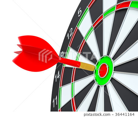 Close up red dart arrow on center of dartboard 36441164